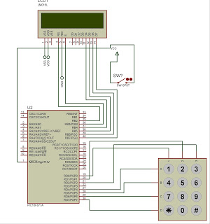 Electronic lock using pic microcontroller Circuit Diagram,
