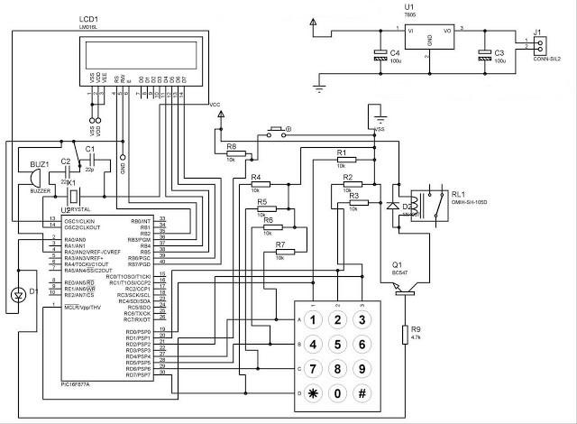 Electronic lock using pic microcontroller Schematic Circuit Diagram