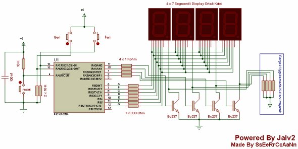0..9999 COUNTER CIRCUIT WITH PIC16F628