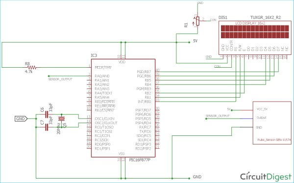 Circuit Diagram for Heart Beat Monitoring using PIC-Microcontroller