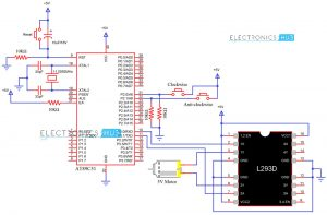 Circuit Diagram for Interfacing DC Motor with 8051 Microcontroller and L293D