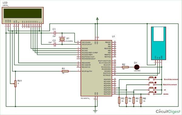 Circuit-Diagram-for-Interfacing-Fingerprint-Sensor-using-PIC-Microcontroller