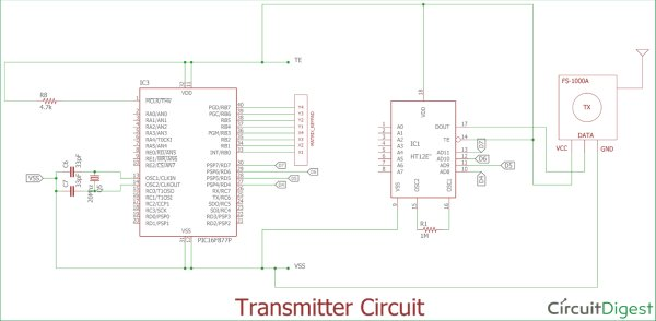 Circuit Diagram for Transmitter side using Pic-microcontorller