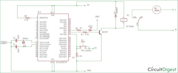 Circuit Diagram using Pic-microcontroller