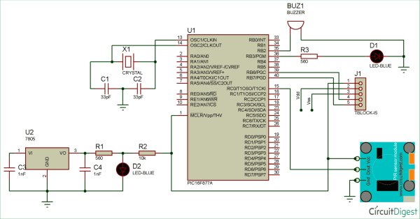 Circuit Diagram using Pic-mirocontroller