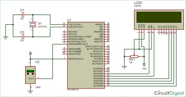 Digital-Thermometer-circuit-diagram-using-PIC-microcontroller