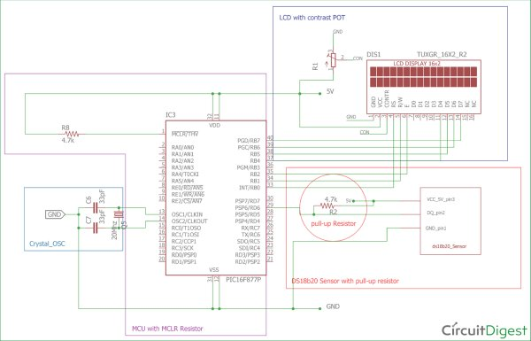 Digital-Thermometer-circuit-diagram-using-a-PIC-Microcontroller