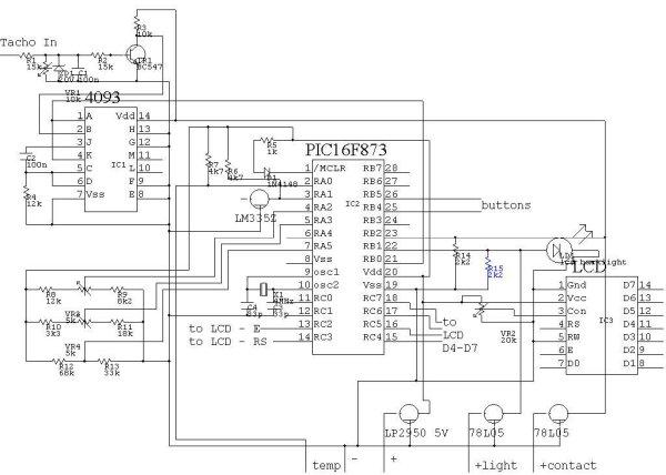 PIC16F873 CAR COMPUTER schamatic