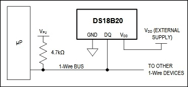 Powering-the-DS18B20 using Pic-microcontroller