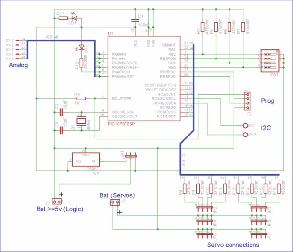PIC16F876 CONTROL OF 8 SERVOS MOTOR 5 OG CHANNELS I2C BUS on lcd schematic, switch schematic, motor schematic, solenoid schematic, wire schematic, starter schematic, master cylinder schematic, radar schematic, mechanical schematic, tank schematic, ac schematic, transmission schematic, engine schematic, led schematic, radio schematic, vfd schematic, ups schematic, dc drive schematic, computer schematic, transducer schematic,