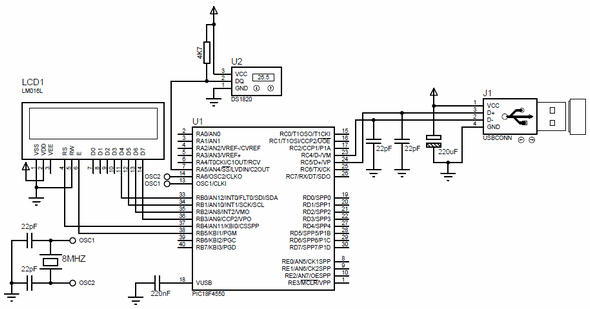 USB thermometer proteus isis circuit diagram