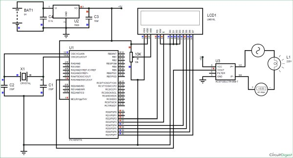 digital-ammeter-circuit Diagram-using-PIC-microcontroller