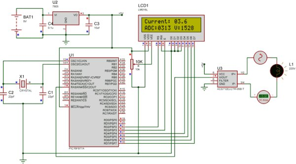 simulation-of-digital-ammeter-project using Pic-microcontroller