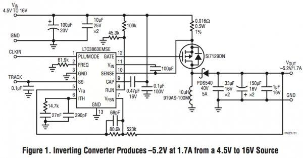 AppNote Inverting DC controller converts a positive input to a negative output with a single inductor