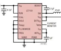 4.4V TO 105V INPUT SYNCHRONOUS STEP-DOWN REGULATOR DELIVERS OUTPUT OF 1V TO VIN