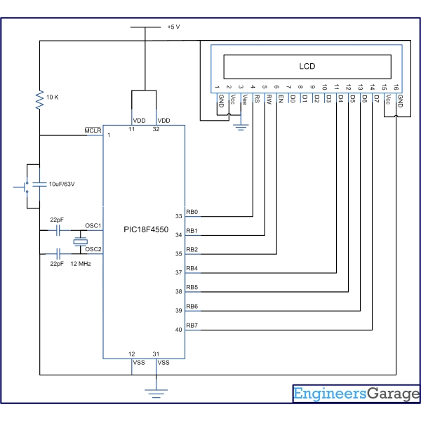 How to interface 16×2 LCD in 4-bit mode with PIC Microcontroller (PIC18F4550)