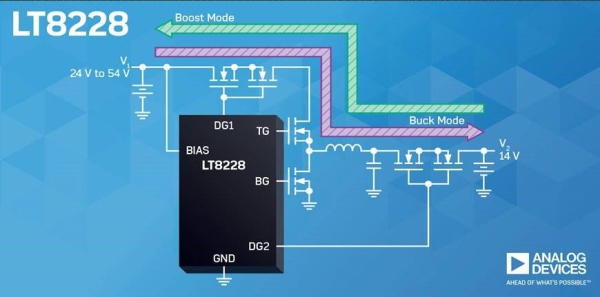 LT8228 – 100 V BIDIRECTIONAL BUCK OR BOOST DC/DC CONTROLLERS WITH PROTECTION