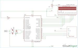 PIC16F877ARotary Encoder Interfacing Circuit Diagram