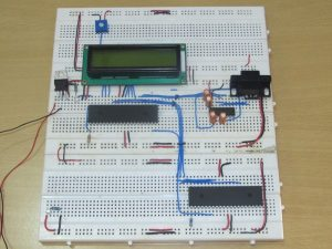 PIC18F4550 microcontroller and LCD screen Circuit on breadborad