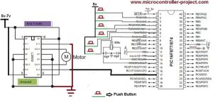 Speed control of DC motor with Pic 16f877 microcontroller and l293d motor driver ic – Circuit Diagram