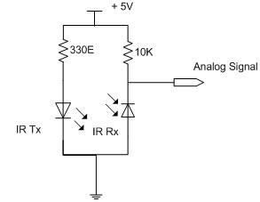 The circuit connection for a single IR module is as follows.