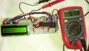 The circuit is constructed in Breadboard