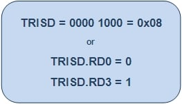Bit Configuration of TRISD Register with 1st pin RD0 as output and 4th pin (RD3) of PortD as input in PIC18F4550