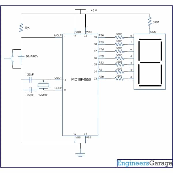 How to interface Seven Segment Display with PIC18F4550 Microcontroller