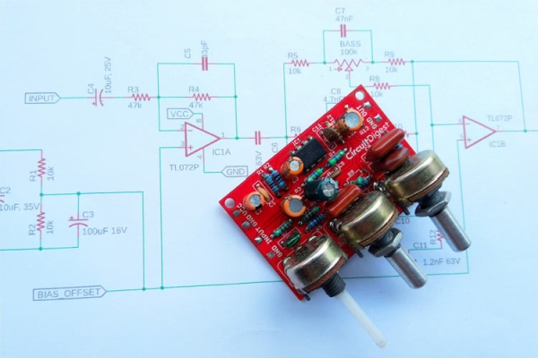 Audio Equalizer / Tone Control Circuit with Bass, Treble and MID Frequency Control using Op-Amp
