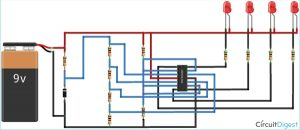 Circuit Diagram for 12V Battery Level Indicator