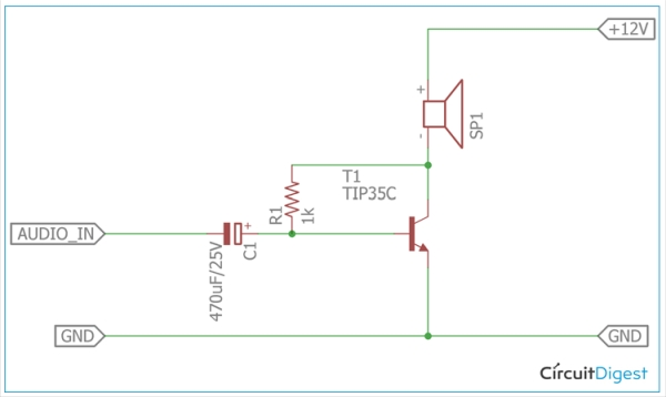 Circuit Diagram for Class A Amplifier using TIP35C