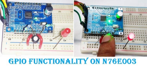 Simple GPIO Functions on Nuvoton N76E003 - LED Blinking and Controlling LED using a Push Button