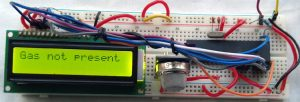 The circuit is constructed in a breadboard